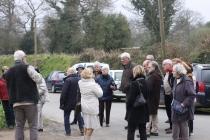 Le groupe davant la maison natale de Dom Yves Cornic